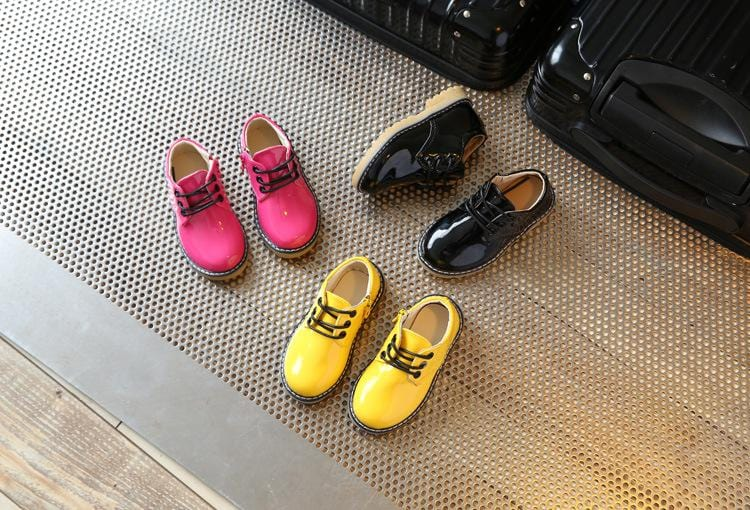 Junior Boss Dr Marten Style Patent Shoes With Zipper - Mini Chic Outlet