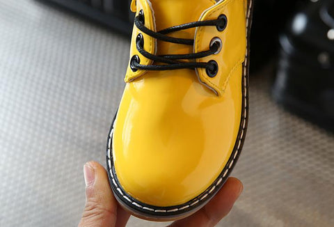Image of Junior Boss Dr Marten Style Patent Shoes With Zipper - Mini Chic Outlet