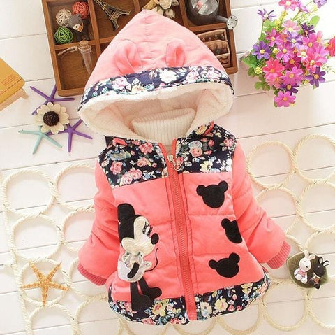 Image of Warm Minnie Mouse Baby Girl Jacket - Mini Chic Outlet