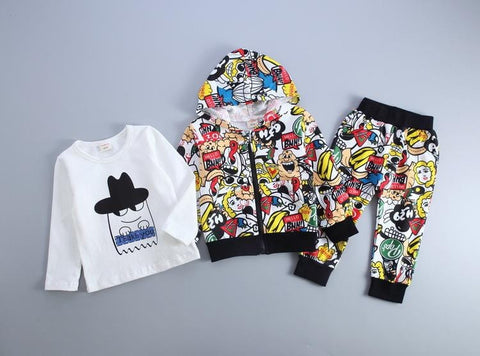 Kids 3 Piece Street Art Tracksuits (1-4 years) - Mini Chic Outlet