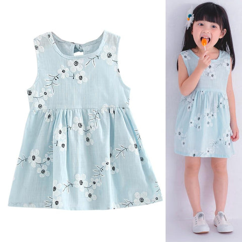 Image of Retro Girl Cotton Dress - Sleeveless Baby Girl Dress - Mini Chic Outlet