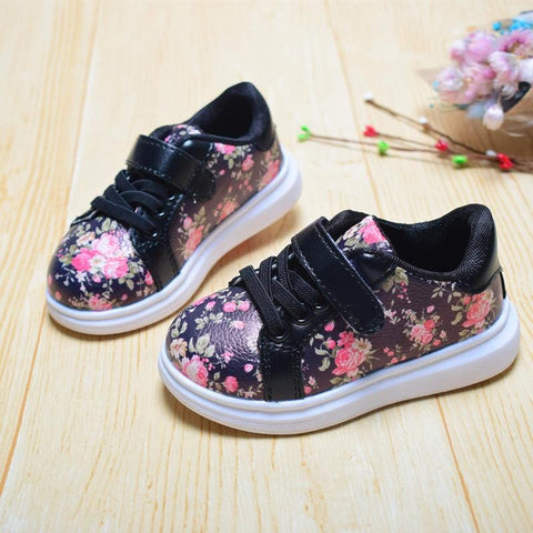 Image of Kids Summer Flowers Velcro Trainers - Mini Chic Outlet