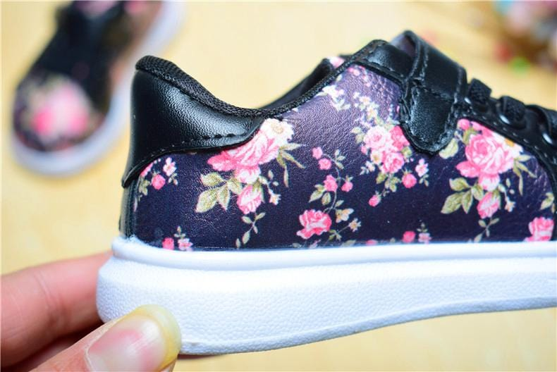 Kids Summer Flowers Velcro Trainers - Mini Chic Outlet