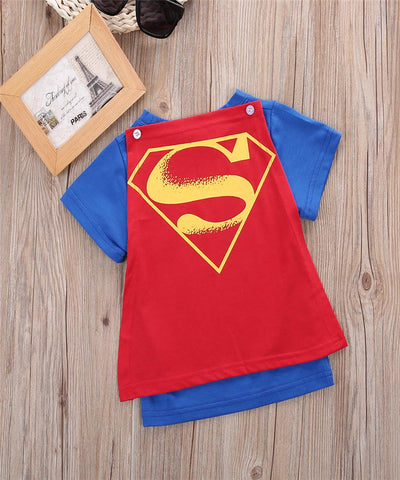Image of Kids Batman And Superman Tshirts With Capes (1-5 years) - Mini Chic Outlet