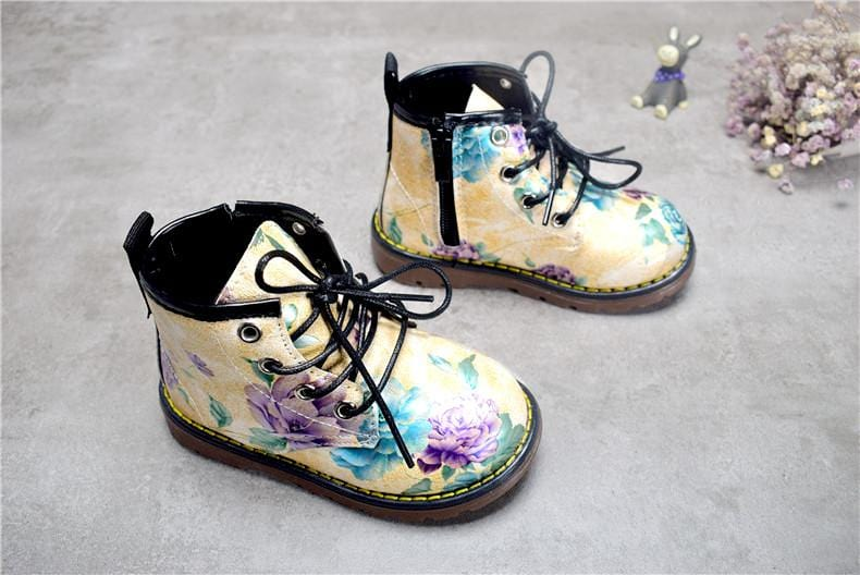 Kids Doc Style Flower Boots (Toddler to big Kid sizes) - Mini Chic Outlet
