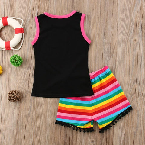Image of Girls 2 Piece Summer Rainbow Outfit - Mini Chic Outlet