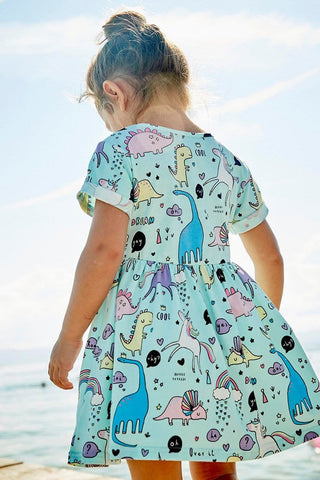 Image of Little Girls Dinosaurs And Unicorns Dress (1-6 years) - Mini Chic Outlet