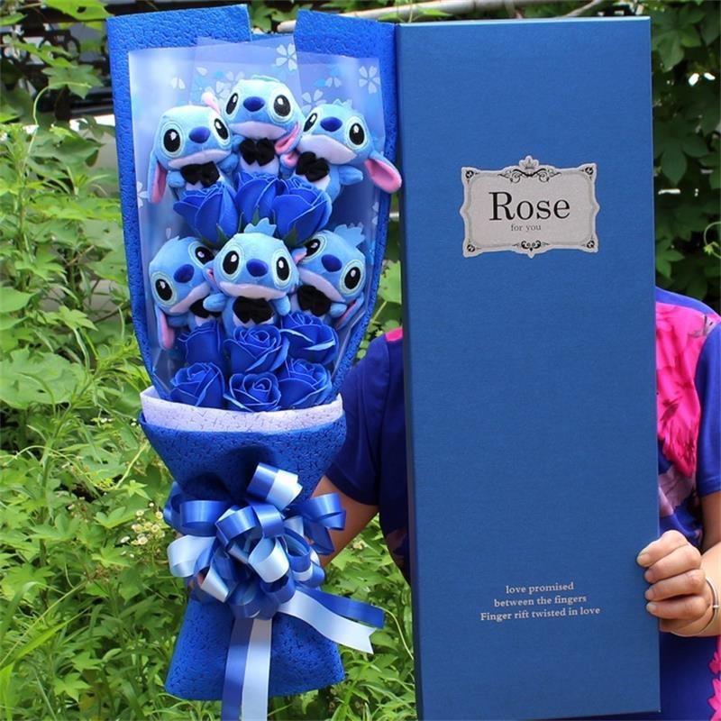 Stitch Plush Bouquet - With Artificial Flowers - Mini Chic Outlet