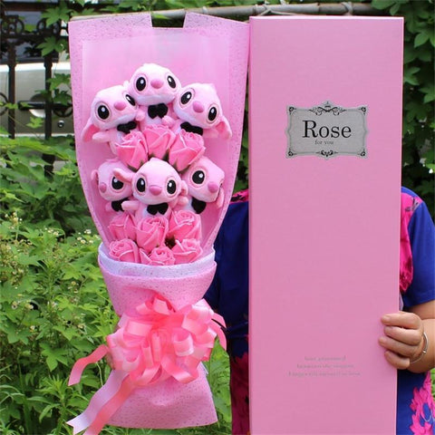 Image of Stitch Plush Bouquet - With Artificial Flowers - Mini Chic Outlet