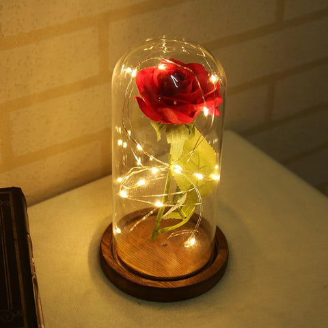 Beauty And The Beast Red Rose In A Glass Dome - Mini Chic Outlet