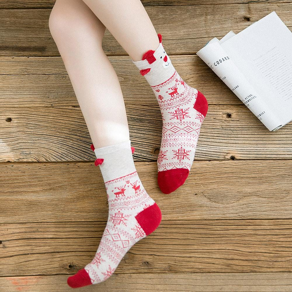 Multi-Color Women's Christmas Socks - Mini Chic Outlet