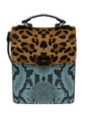 Duo Tone Animal Print Crossbody Bag