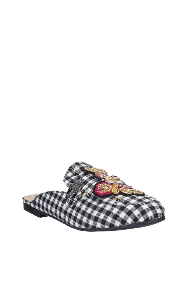 Checkered & Suede Embroidered Mule - nose intl