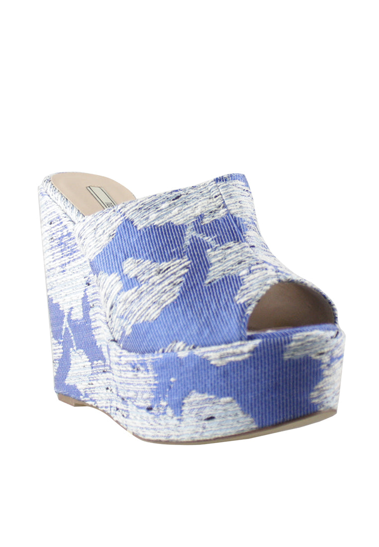 Tweed Peep Toe Wedge Slide