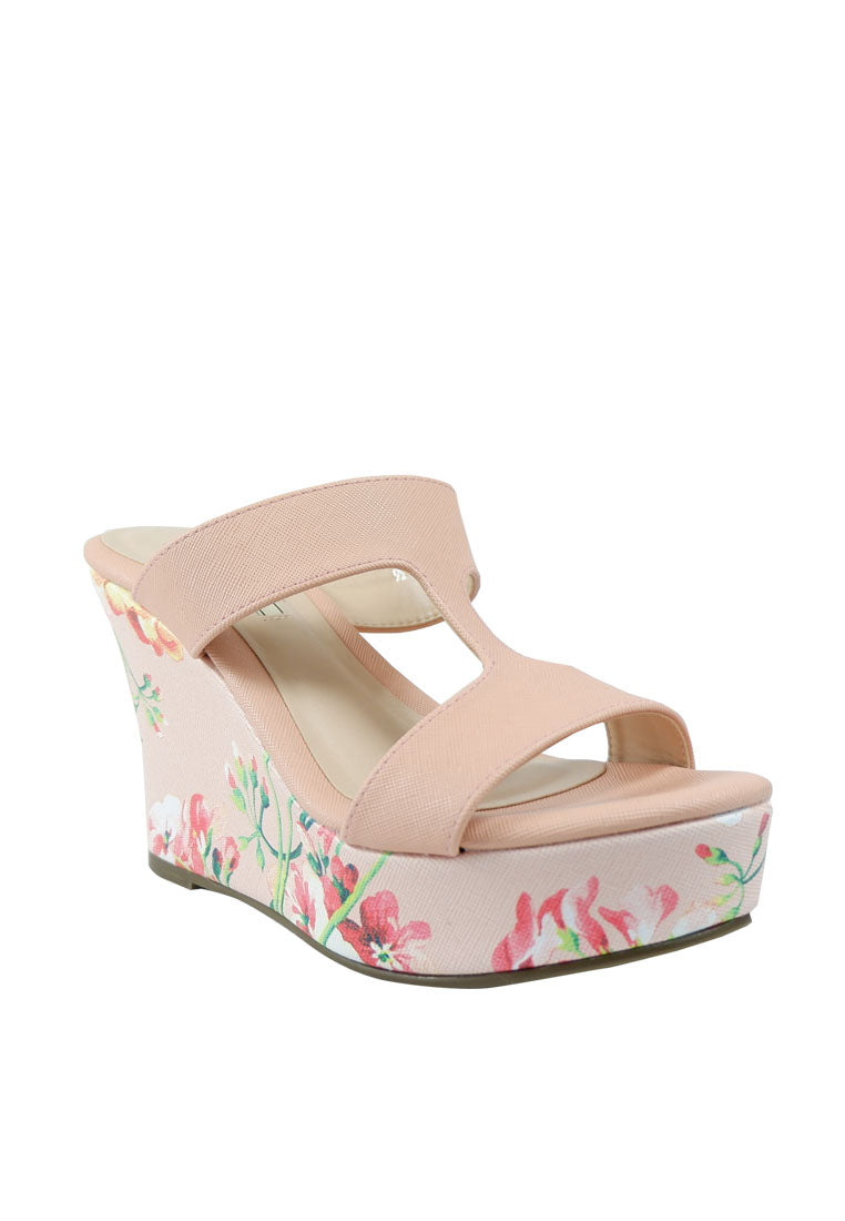 Duo Tone & Floral Print Wedge Slide