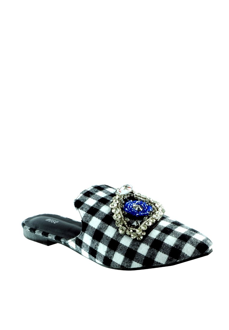 Checkered Bejeweled Flat Mule - nose intl