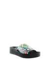 Floral Print Wedge Slide