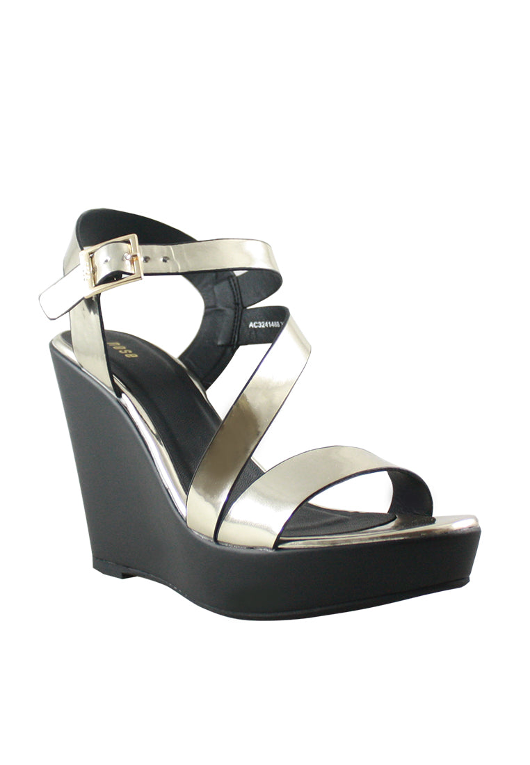 91090d5a385 Strappy Chrome Wedge Sandal - nose intl