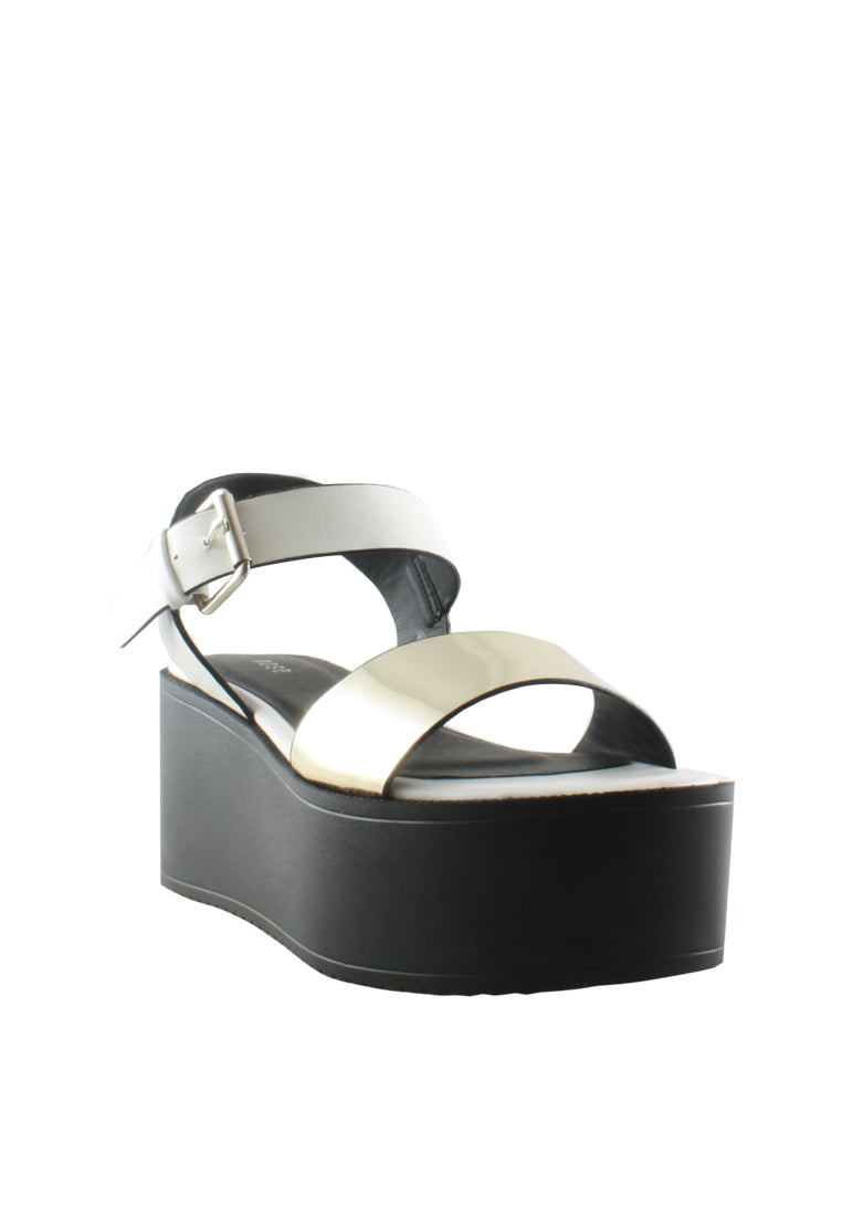 Chrome Metal Sandal Wedges