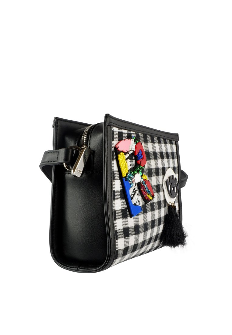 Checkered Funky Ornament Crossbody Bag - nose intl