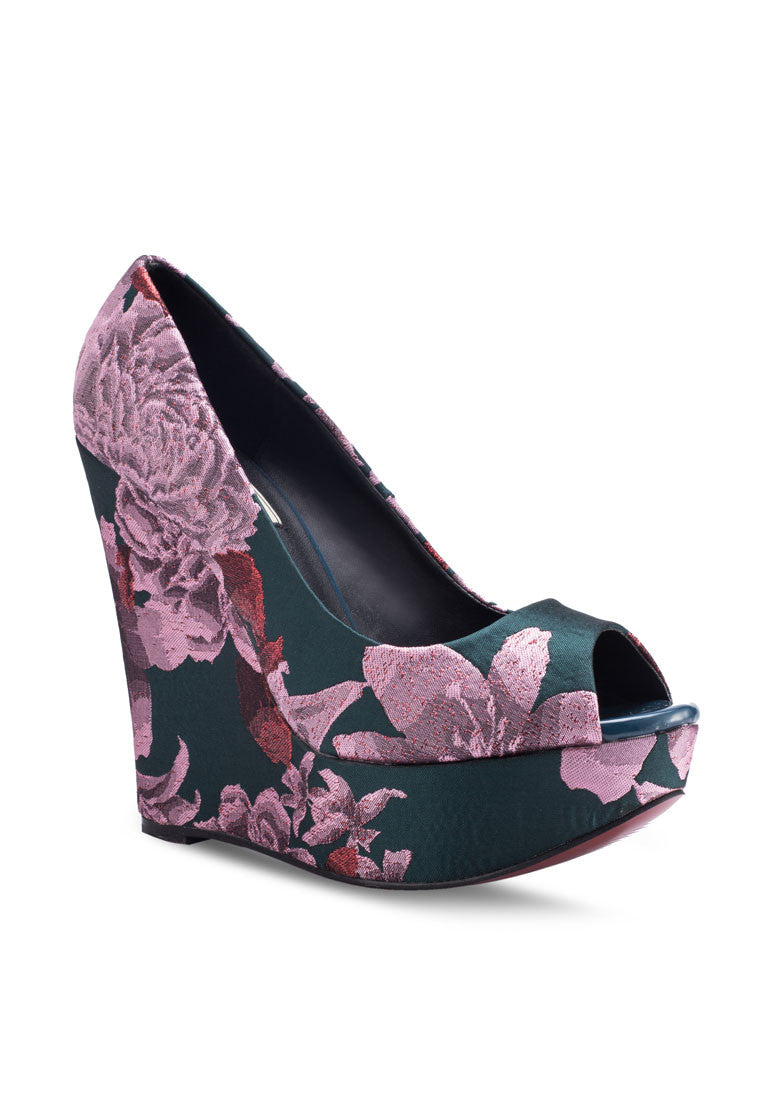 Peep Toe Floral Print Wedge Pump
