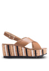 Cross Strap Cork Wedge Sandal