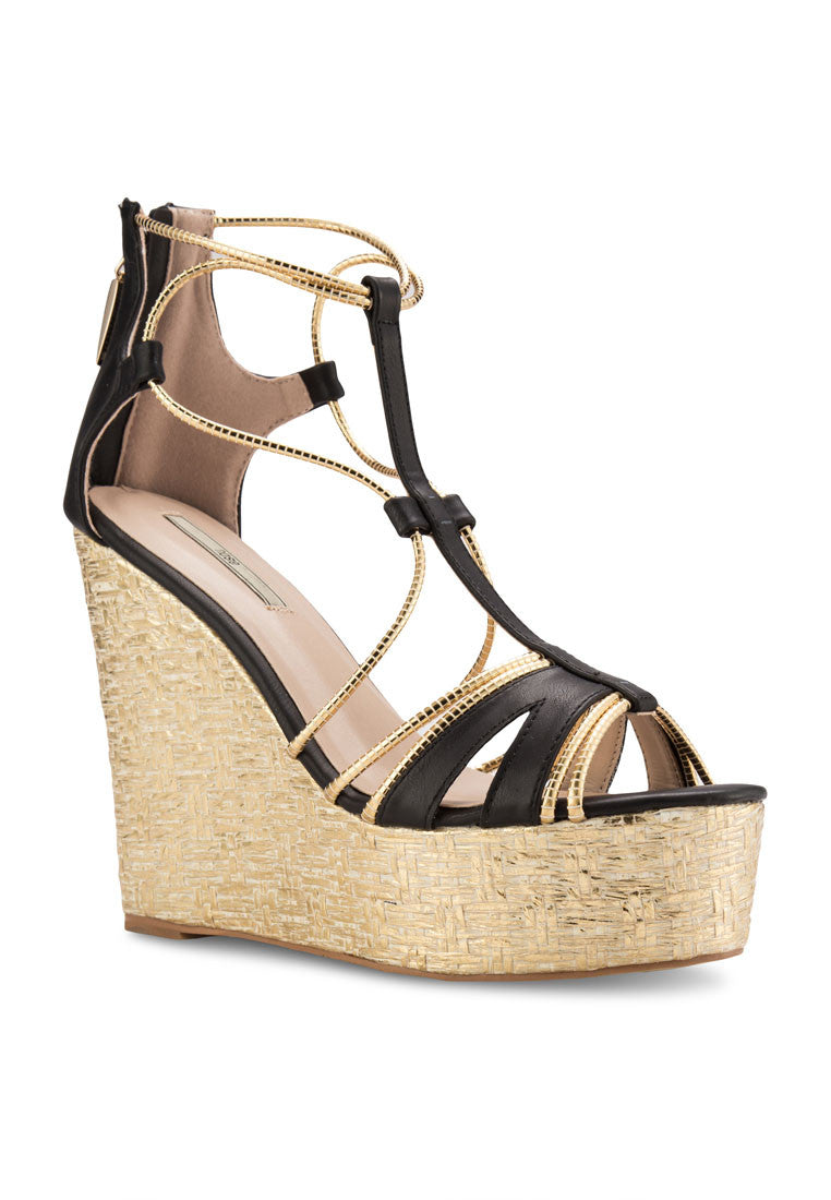 Woven Metallic Wedge Sandal
