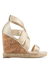 Metallic Strap Wedge Sandal