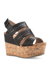 Perforated Strap Wedge Sandal