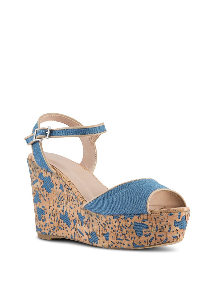 Denim Cork Heel Wedge Sandal