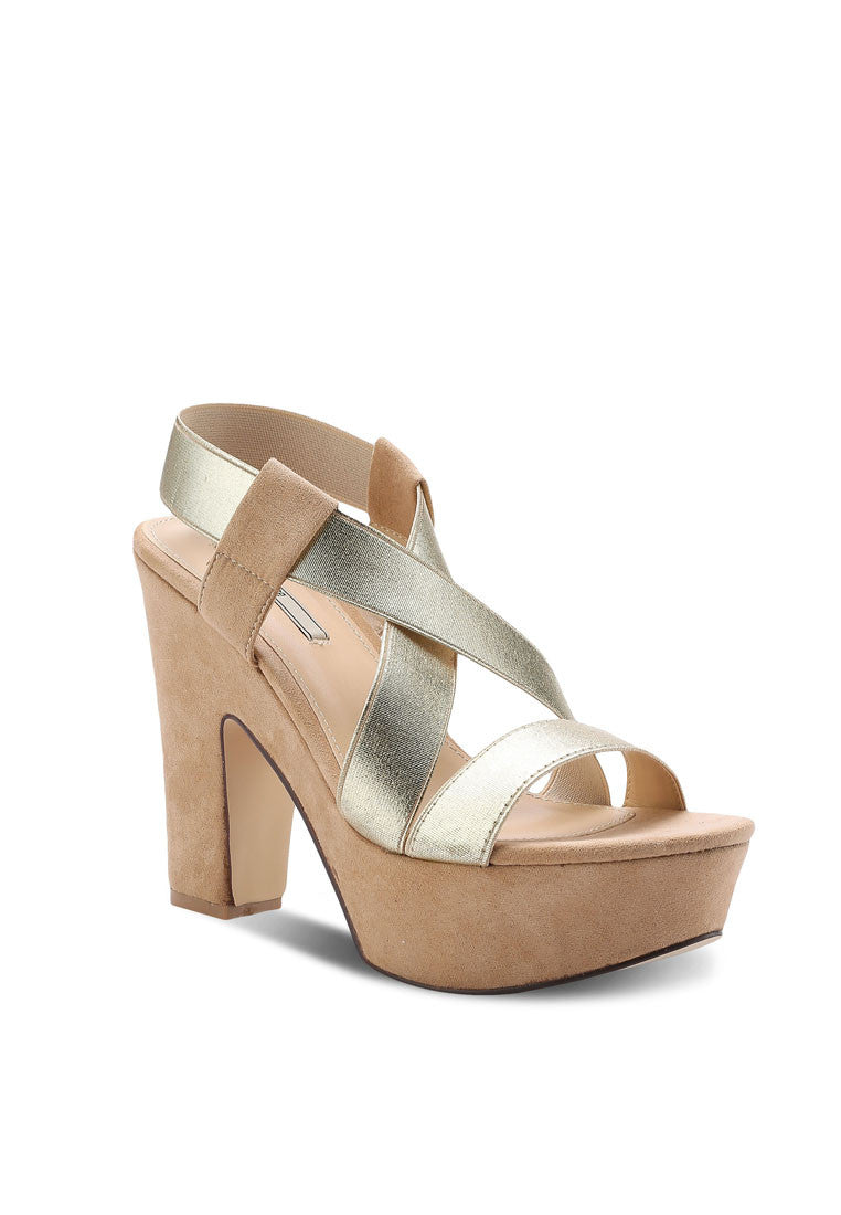 Suede & Metallic Wedge Sandal