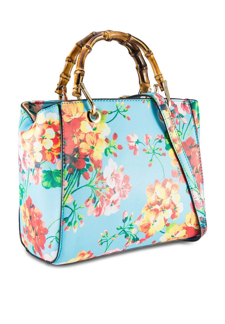Bamboo Handle Floral Print Tote Bag