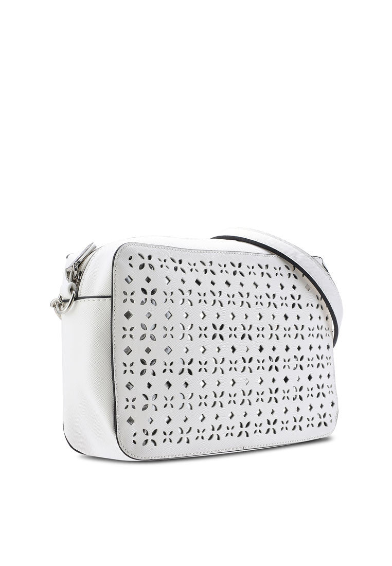 PU & Metallic Perforated Crossbody Bag