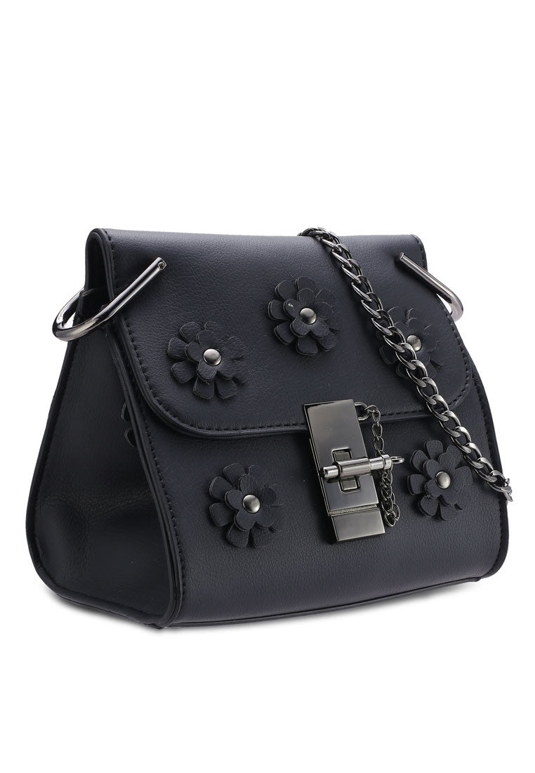 Flower Ornament Crossbody Bag
