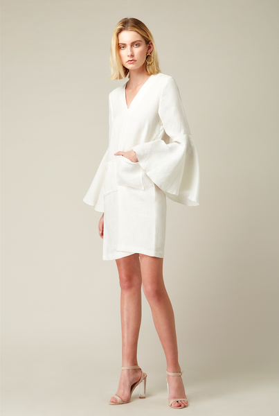 Bell Sleeve Linen Dress