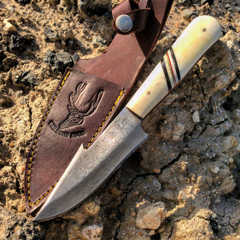 TheBoneEdge Damas Skinner Knife Os poignée Séries Fourreau en cuir
