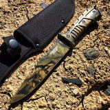 Defender Xtreme Full Tang Survival Couteau de chasse tactique Woodland Brown Camo