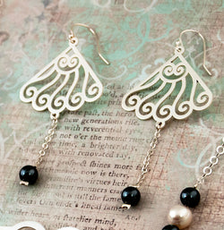 Fan-Shaped Dangle Earrings