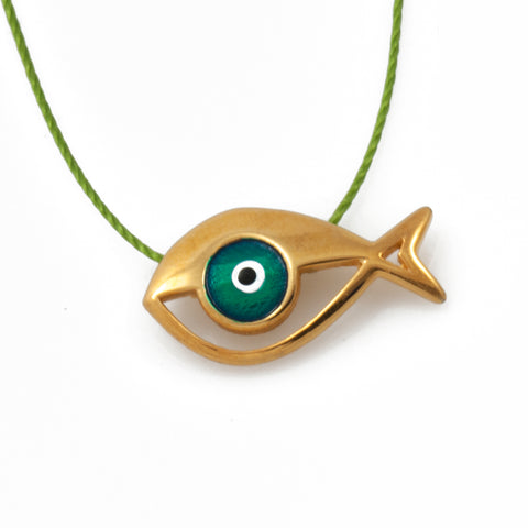 Silver Iris Fish Necklace