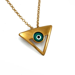 Silver Iris Triangle Necklace
