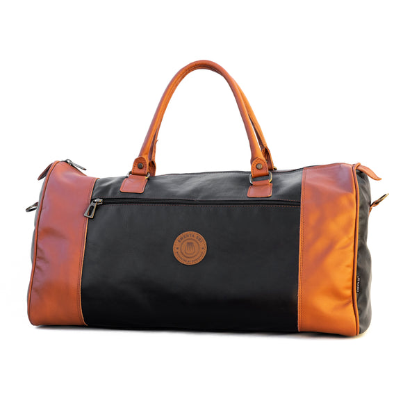 E-Duffel Black / Camel Leather Bag