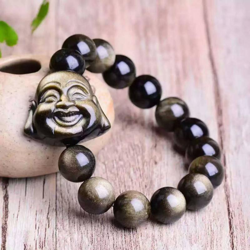 Oriental Chinese Handmade Wooden Laughing Buddha Good Luck Wall Car Lucky Charm