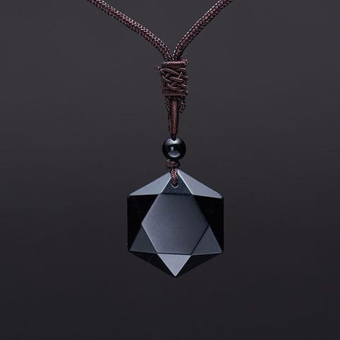 star of david obsidian pendant