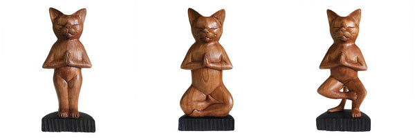 Wooden Yoga Cats