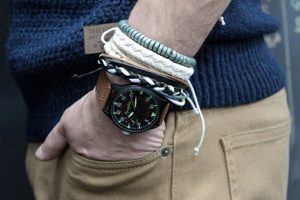 Green & Natural Mens Bracelet Set