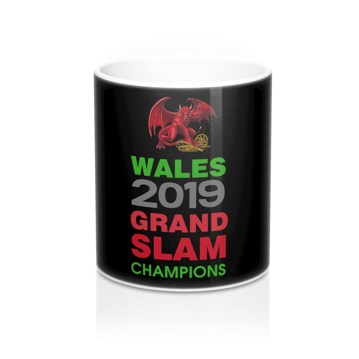 Wales 2019 Grand Slam Champions Mug 11oz Black