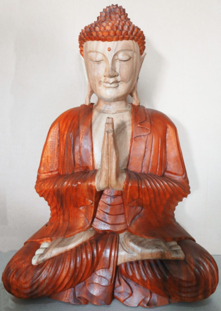 Hand Carved Praying Buddha Statue