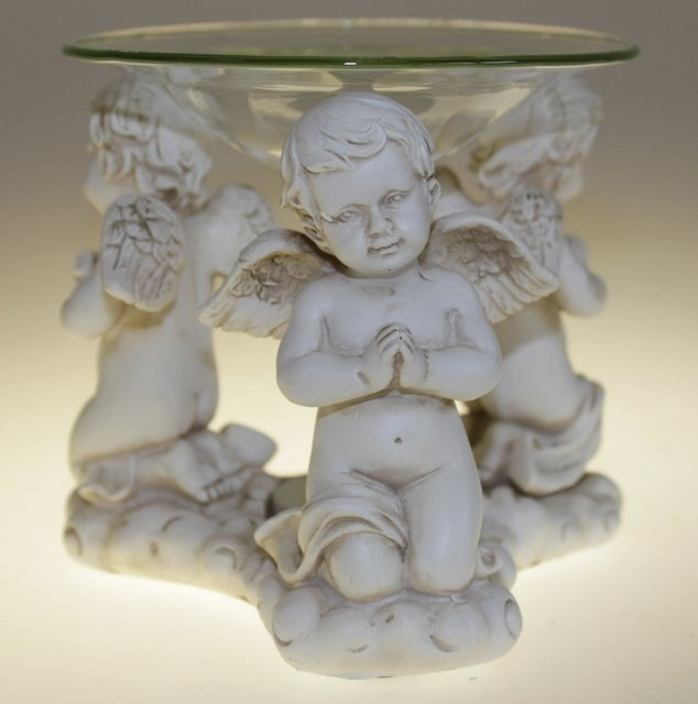 Cherub Praying Oil Burner with Glass Dish