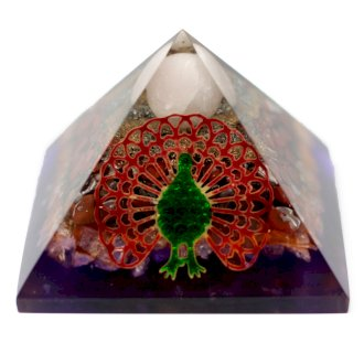 Large Orgonite Pyramid 80mm - Peacock Feathers