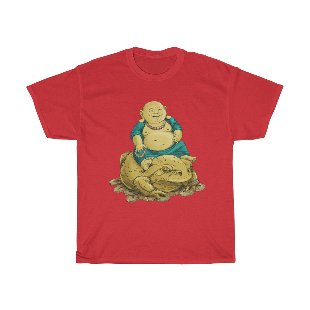 Happy Buddha on Coins and Wealth Toad Unisex T-shirt